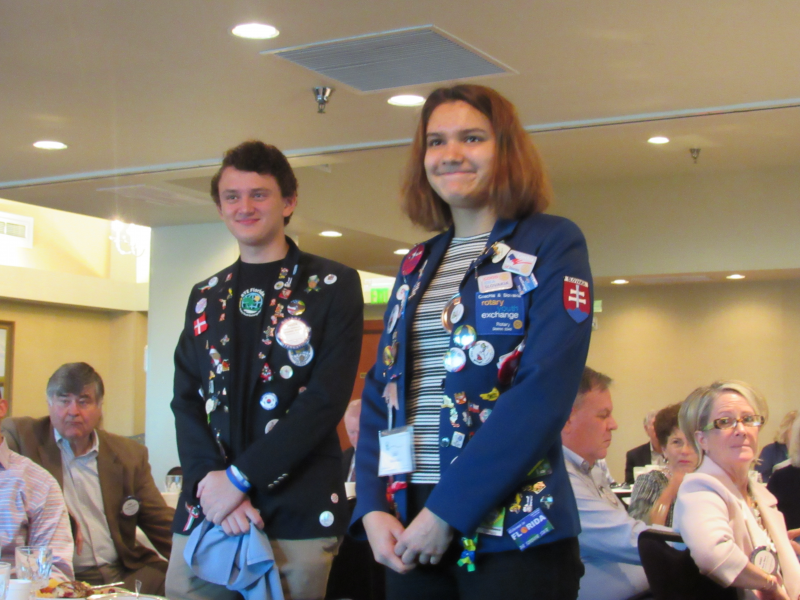 Rotary Youth Exchange students Gosta and Juli attend the weekly breakfast